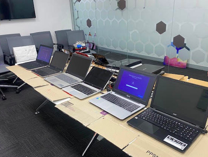Different laptops on the table
