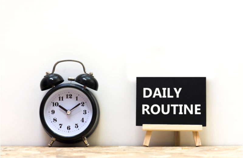Alarm clock and daily routine words